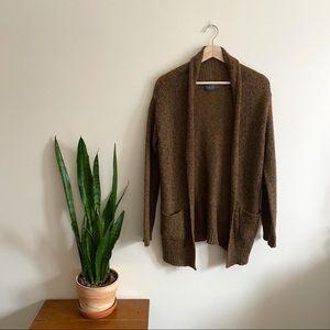 Oak and Fort Brown Wool Shawl Collar Cardigan